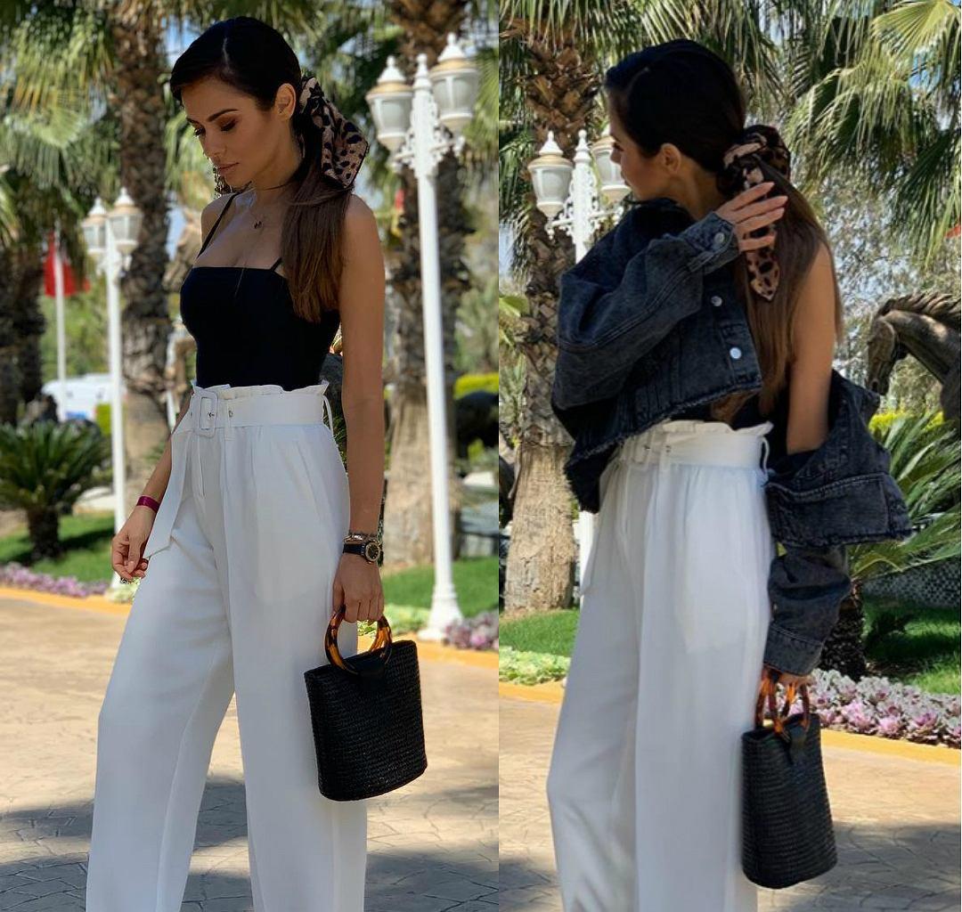 Natalia Siwiec w modnych białych spodniach - zestaw idealny!