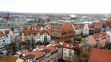 Widok z Zamku Książąt Pomorskich w stronę Podzamcza i Międzyodrza
