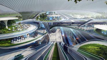 Jeden z trzech wariantów wizji CPK wg biura projektowego Zaha Hadid Architects