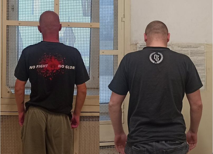 KPP Chrzanów - dwaj zatrzymani mężczyźni po meczu A-Klasy. Źródło: KPP Chrzanów