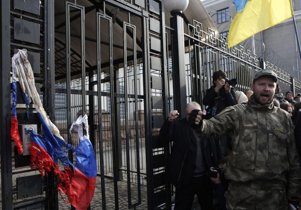 Protest przed ambasadą Rosji w Kijowie