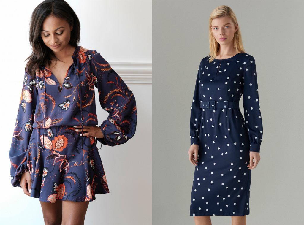 Granatowe sukienki - w kwiaty i kropki