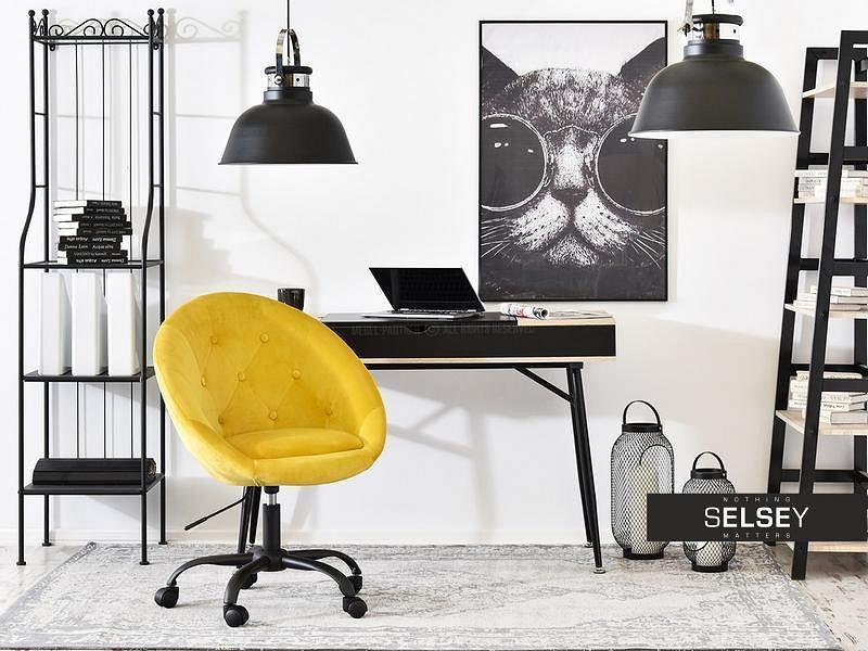 Żółty fotel biurowy w aranżacji domowego biura