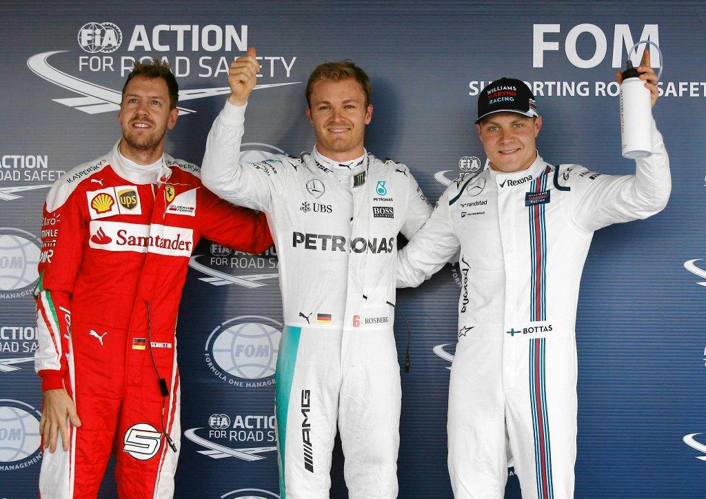 Sebastian Vettel, Nico Rosberg i Valtteri Bottas