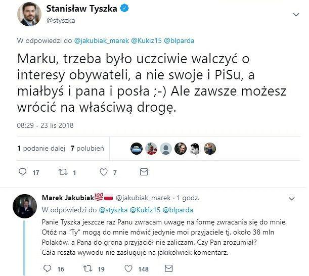Wymiana zdań między Stanisławem Tyszką a Markiem Jakubiakiem