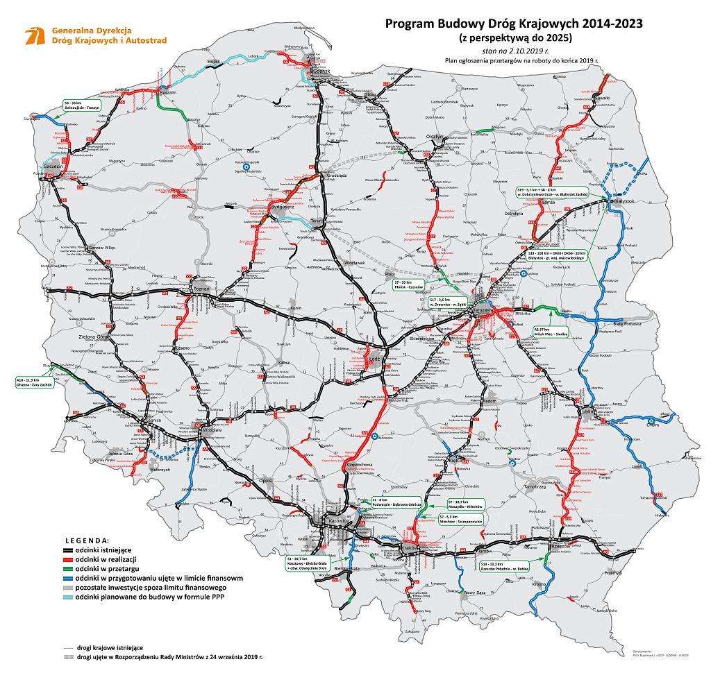 Mapa przetargów 2019, GDDKiA, budowa dróg