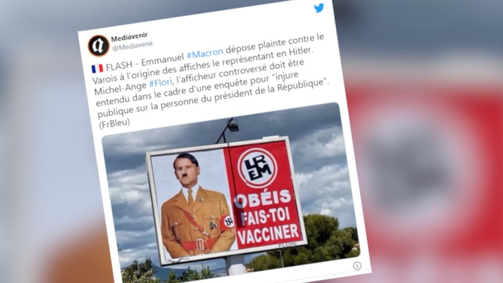 Emmanuel Macron przedstawiony jako Adolf Hitler