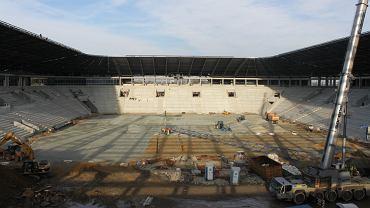 Stadion GKS-u Tychy w budowie