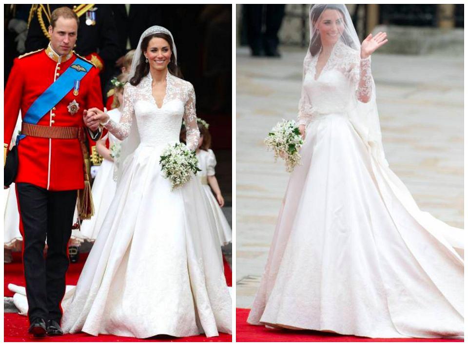 Ślub księżnej Kate i księcia Williama / suknia domu mody Alexander McQueen