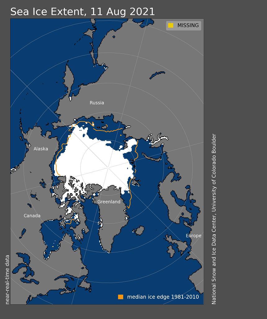 Zasięg lodu morskiego w Arktyce, kolorem żółtym zaznaczono średnią granicę lodu w latach 1981-2010