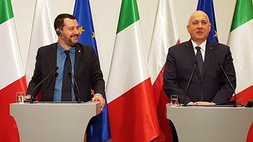Matteo Salvini i Joachim Brudziński na wspólnej konferencji prasowej