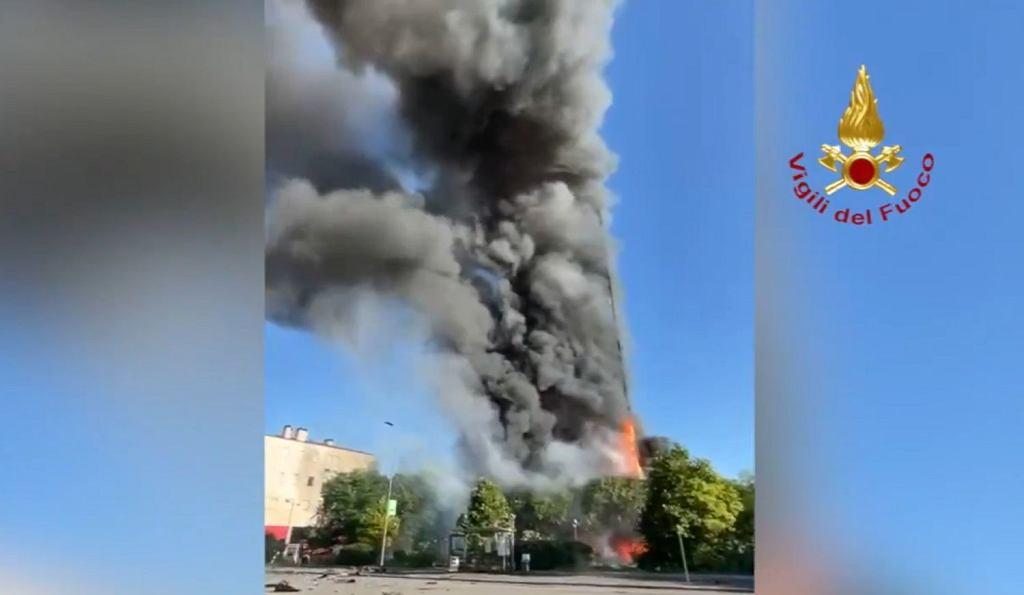 Pożar budynku w Mediolanie