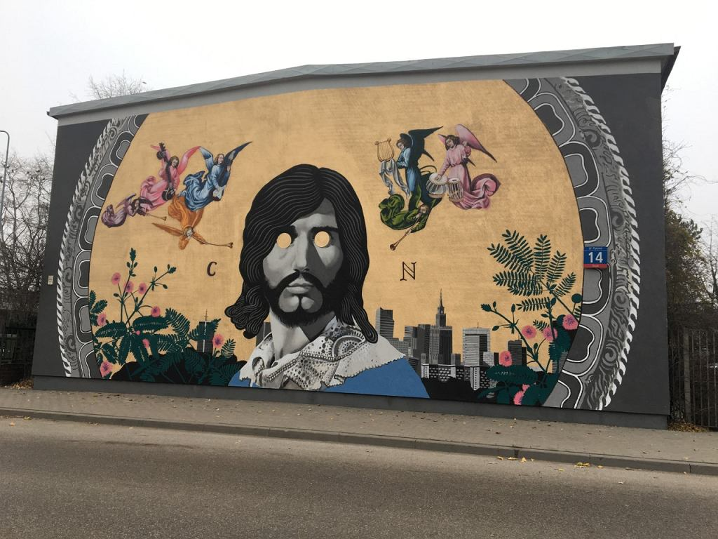 Mural z Czesławem Niemenem na warszawskiej Białołęce