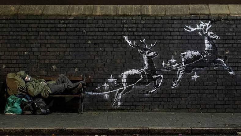 Mural Banksy'ego w Birmingham.