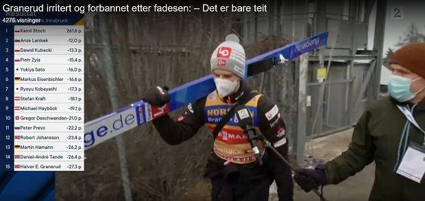 Halvor Egner Granerud w rozmowie z norweską TV 2 w Innsbrucku