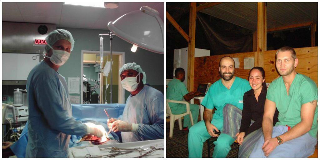Radosław Niedźwiedź podczas pracy na Haiti (pierwszy z lewej na pierwszym i pierwszy z prawej na drugim zdjęciu) (fot. archiwum prywatne Radosława Niedźwiedzia)