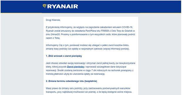 Fragment e-maila od Ryanaira