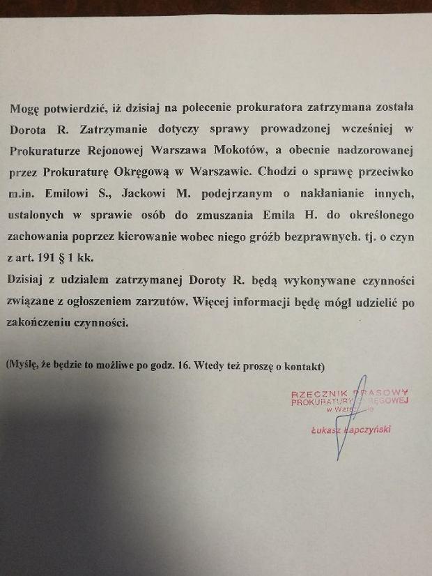 Oświadczenie Prokuratury Okręgowej w Warszawie