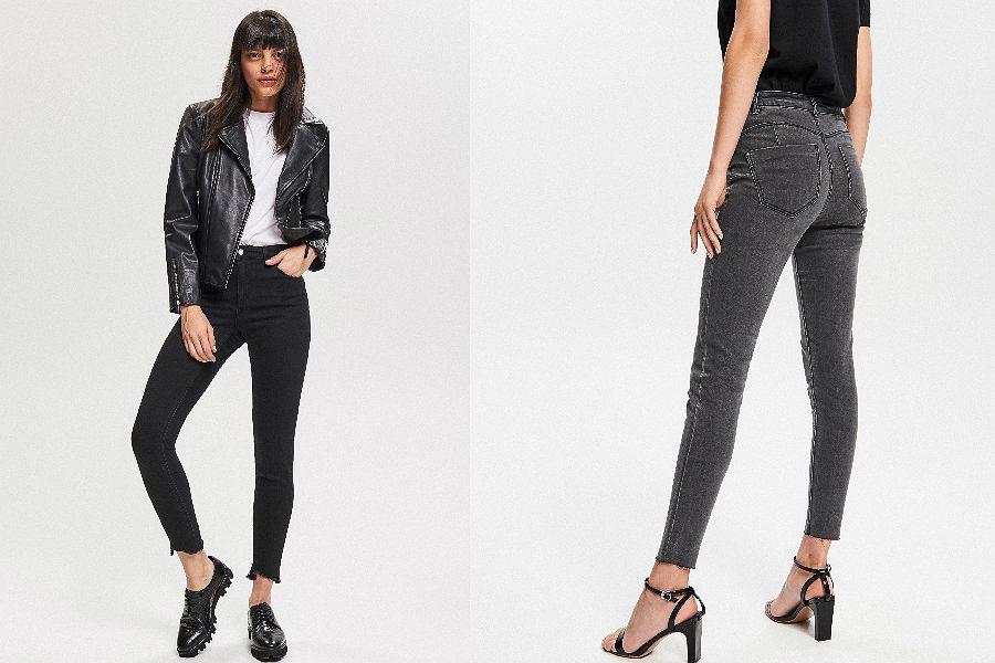ciemne jeansy push up