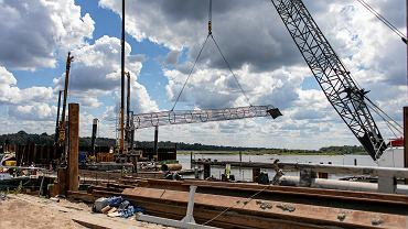 Budowa Mostu Południowego w ramach prac nad Południową Obwodnicą Warszawy
