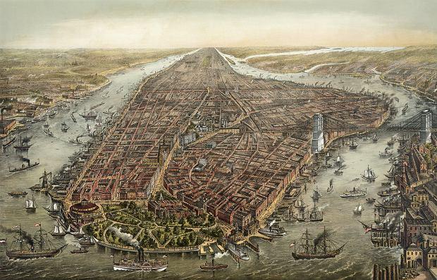 Nowy Jork w 1873 r. na litografii George'a Schlegela