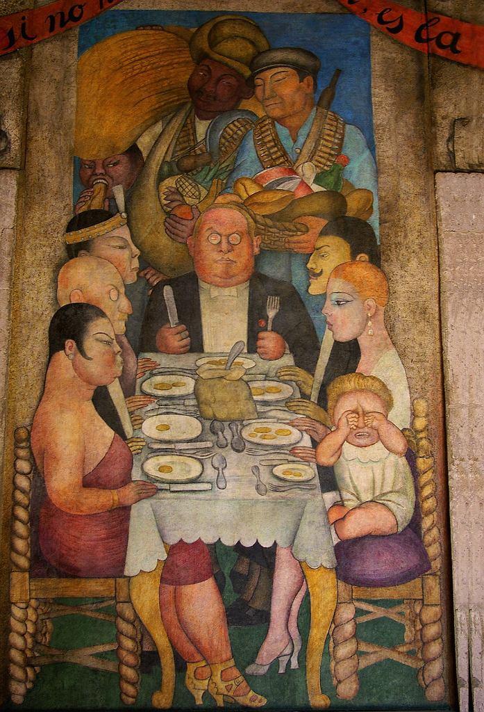 Mural Diego Rivery 'La cena del capitalista' ('Kolacja kapitalisty', 1928 r.)