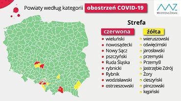 Koronawirus w Polsce. Lista powiatów i obostrzeń w strefach czerwonych i żółtych.