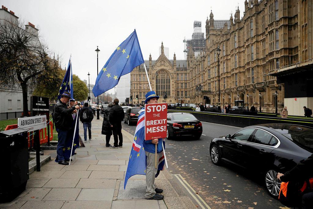 15.11.2018, Londyn, przeciwnik Brexitu protestuje przed budynkiem Parlamentu.