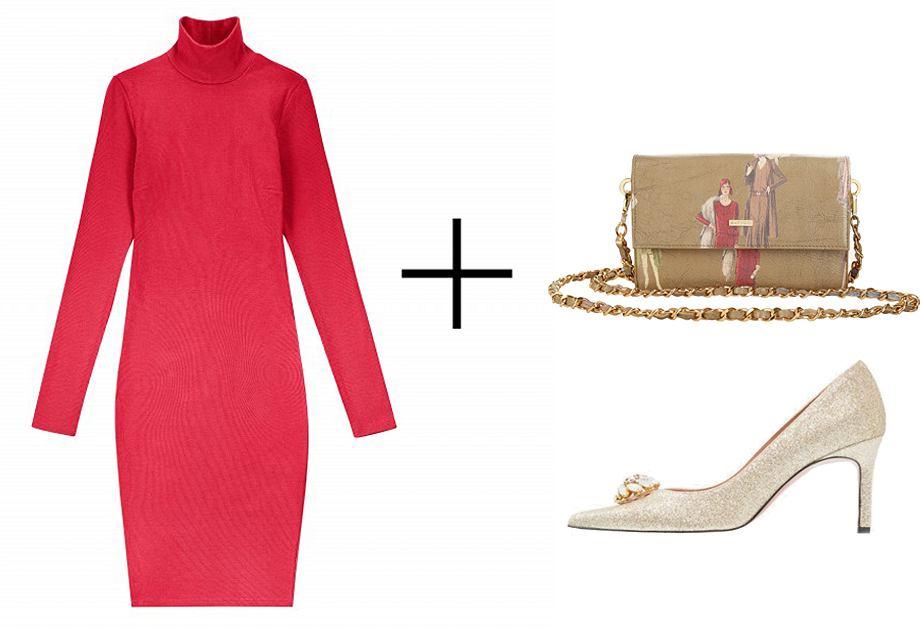 Świąteczna sukienka z golfem marki Nudyess świetnie łączy się ze złotymi dodatkami: torebka Batycki, czółenka Oxitaly