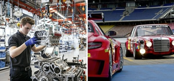 Po lewej: budowa silnika w fabryce AMG w Affalterbach. Po prawej: Mercedes SEL 6.8 z 1967 r. (pierwszy tuning AMG) i Mercedes SLS (pierwsze auto w całości zaprojektowane i produkowane przez AMG)