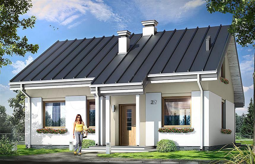 Jeden z projektów opublikowanych na 'Domy za mniej niż 100 tyś' - Kajtek. Orientacyjny koszt budowy domu w stanie surowym zamkniętym bez instalacji: 110 927 zł według projektantów