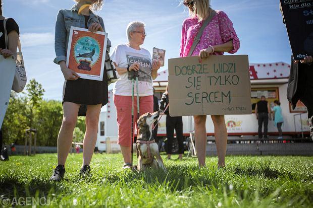 Poznań. Protest aktywistów Fundacji VIVA! przeciwko przyjazdowi do Poznania Cyrku Zalewski, który w swoich przedstawieniach wykorzystuje pracę zwierząt.