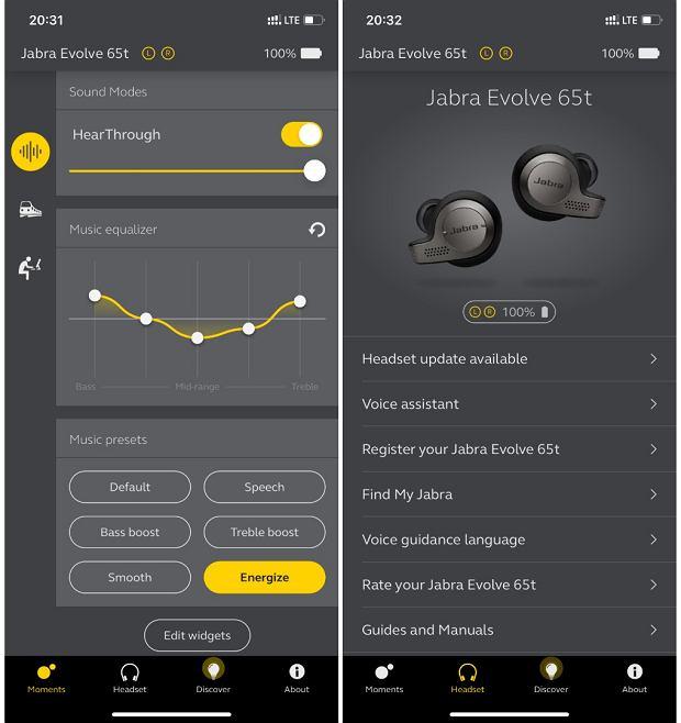 Dedykowana aplikacja Jabra Sound+ daje spore możliwości dostosowania słuchawek