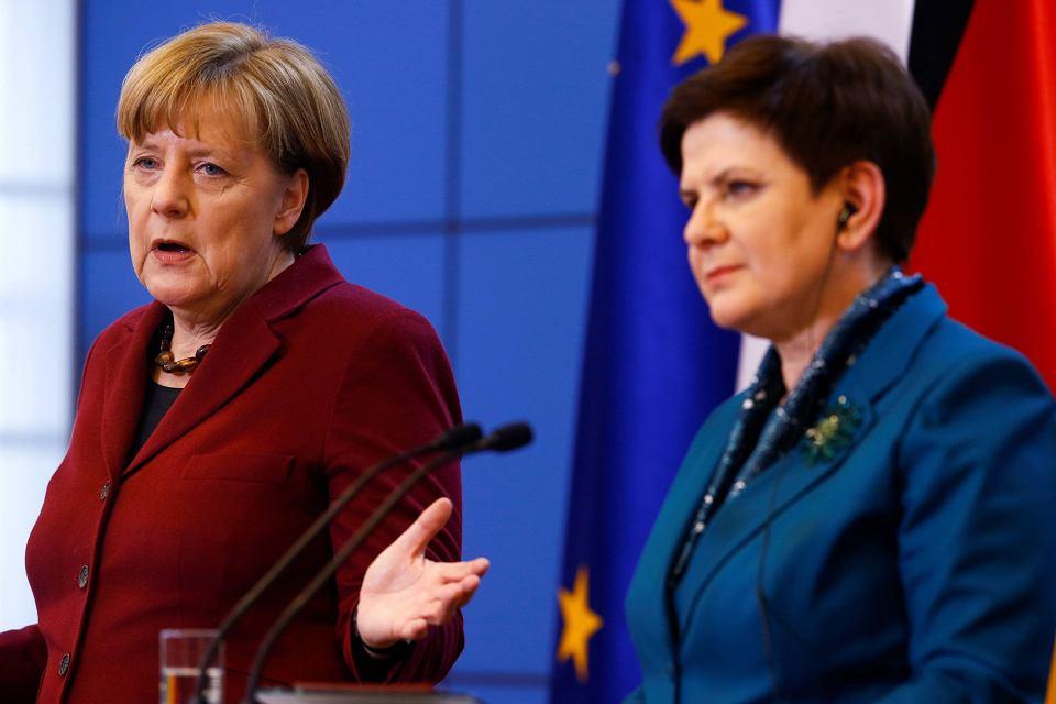 Angela Merkel i Beata Szydło na konferencji prasowej w Warszawie