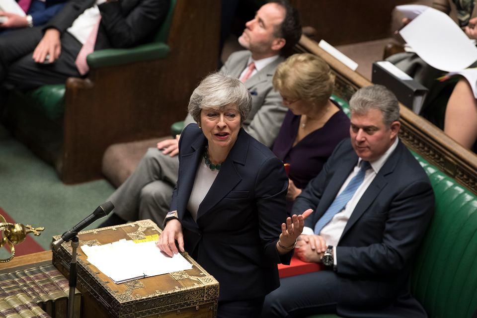 13.03.2019, premier Wielkiej Brytanii Theresa May przemawia w Izbie Gmin.
