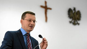 Obecny premier rządu PiS Mateusz Morawiecki podczas spotkania z sympatykami. Pomorska Szkola Wyzsza w Bydgoszczy, 11 lipca 2016