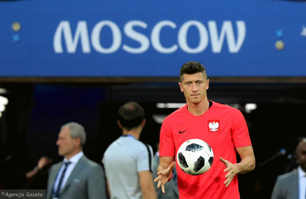 Robert Lewandowski podczas treningu przed meczem z Senegalem w Moskwie