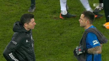 Robert Lewandowski i Rafał Gikiewicz po meczu Augsburg - Bayern