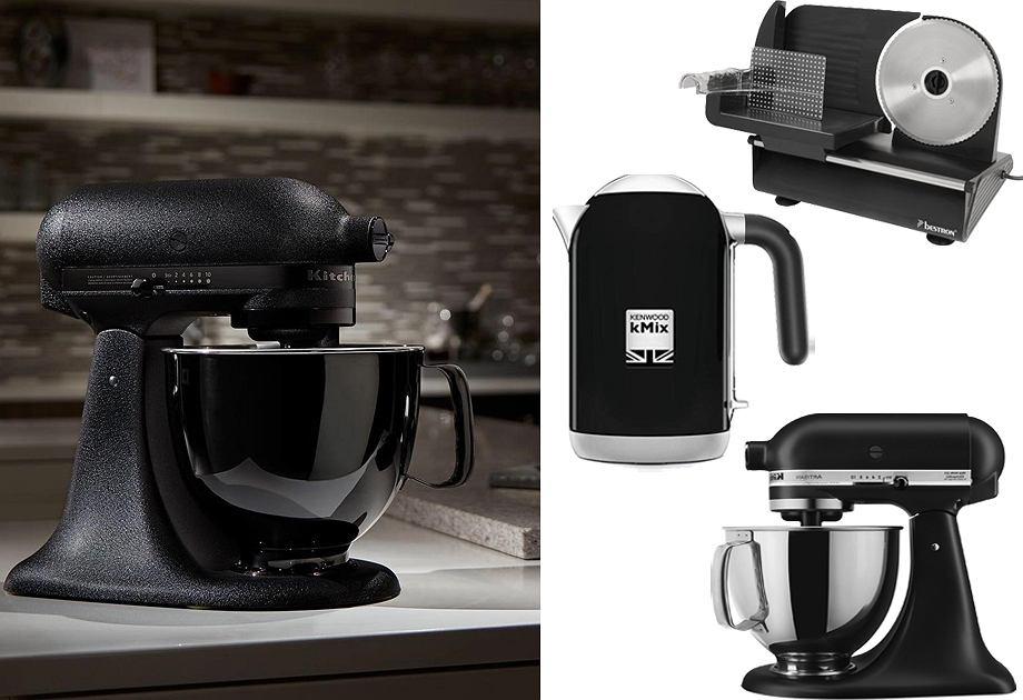 Czarny czajnik Kenwood / Czarna krajalnica Bestron / Czarny robot kuchenny KitchenAid