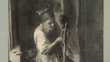 Kobieta wyrabiająca ser (fotografia obrazu z 1904 roku)
