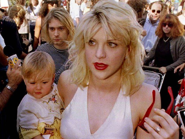 Kurt Cobain z żoną Courtney Love i córką Frances Bean Cobain
