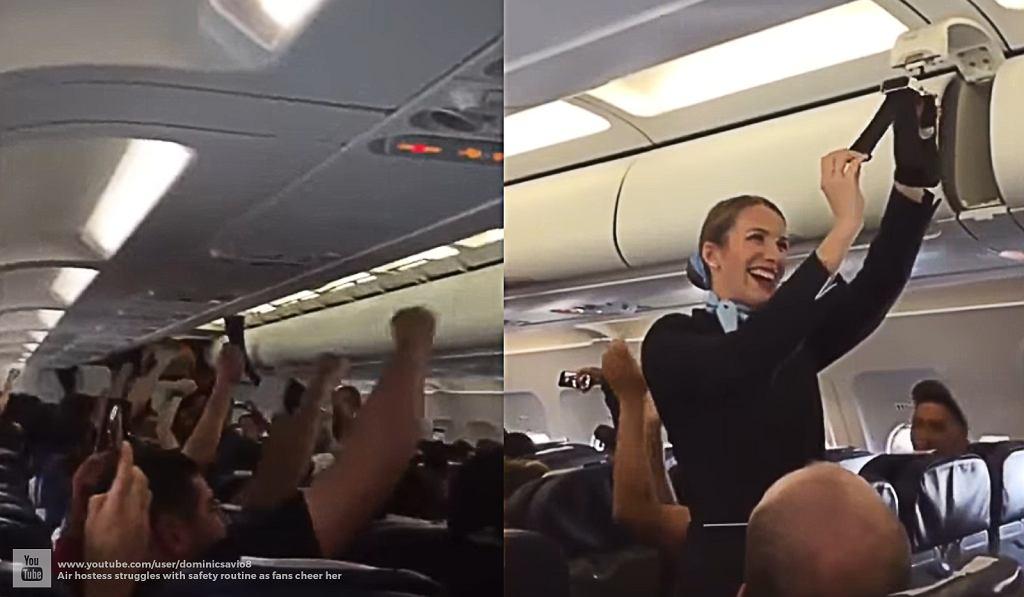 Zachowanie kibiców rozśmieszyło stewardessę.