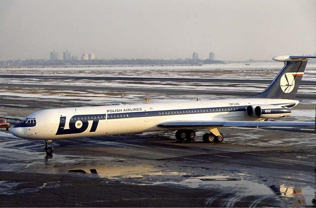 Ił-62 na lotnisku w Nowym Jorku. To ta maszyna rozbiła się na Okęciu