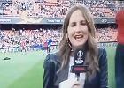 Piłka znokautowała hiszpańską reporterkę przed meczem Valencia - Arsenal [WIDEO]