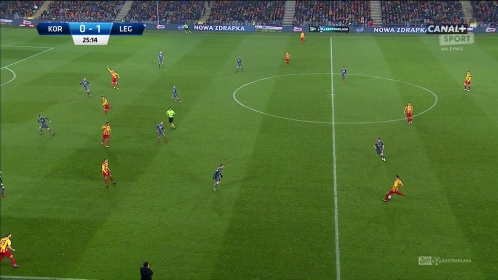 Legia przez większość meczu pozwalała wprowadzać piłkę na swoją połowę, żeby tam zawalczyć o jej przejęcie i szansę na skuteczną kontrę.