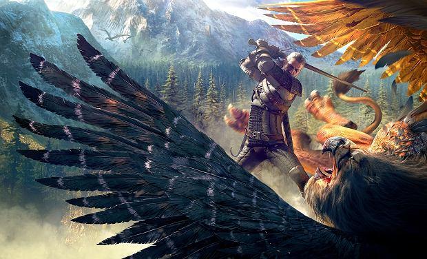 Wiedźmin Geralt w walce z potworem (kadr z gry 'Wiedźmin: Dziki Gon' (fot. CDP.pl)