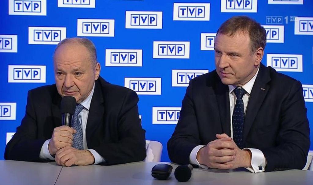 P.o. prezesa TVP Maciej Łopiński, członek zarządu TVP Jacek Kurski, marzec 2020 r.