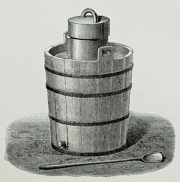 Maszynka do lodów, o której pod koniec XIX w. pisała Lucyna Ćwierczakiewiczowa. Do zewnętrznego cerbra wsypywało się pokruszony lód z solą, dzięki której wolniej się topił. Masę na lody wlewało się do wewnętrznej cynowej puszki i kręciło. Po kwadransie trzeba było zastygającą masę wymieszać, zostawić i kilka razy to powtórzyć.