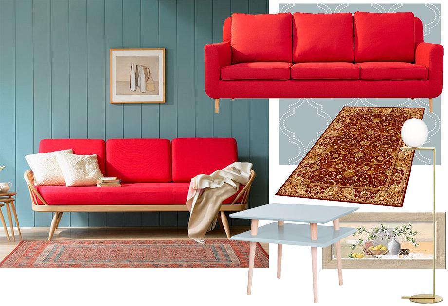 Czerwona kanapa - aranżacja w stylu retro