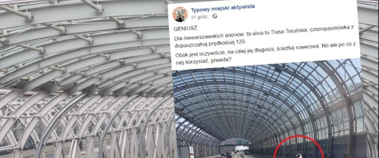 Warszawa. Rowerzysta mknął tunelem trasy S8.